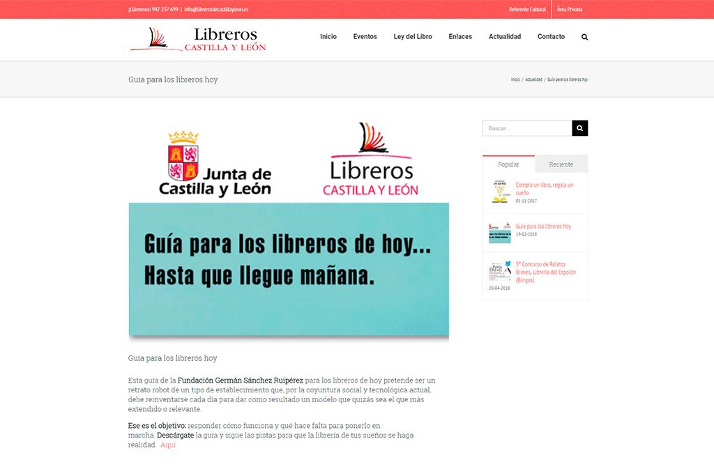 Web Gremio de libreros de Castilla y León